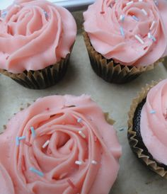 Valentine's Cupcakes: chocolate cupcakes with pink buttercream roses