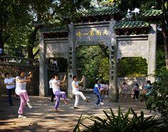 Doing morning exercise in front of the gate of Tian Nan Di Yi Feng at Baiyun Mountain. #Guangzhou #Taichi #exercise