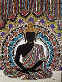 Mandala Dot Painting Hand Painted Wall Art Not Framed - Painting ideas Mandala Canvas, Mandala Artwork, Mandala Painting, Mandala Drawing, Mandala Dots, Mandala Print, Mandala Design, Buddha Drawing, Buddha Painting