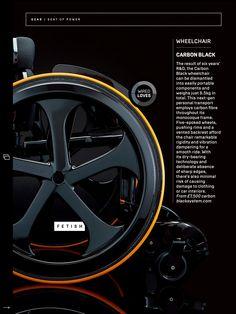 Powered Wheelchair, Spinal Cord Injury, Carbon Black, Carbon Fiber, Carbon Fiber Spoiler