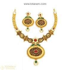 22K Gold Antique Necklace & Drop Earrings Set with Stones - 235-GS2914 - Buy this Latest Indian Gold Jewelry Design in 57.750 Grams for a low price of $3,003.99