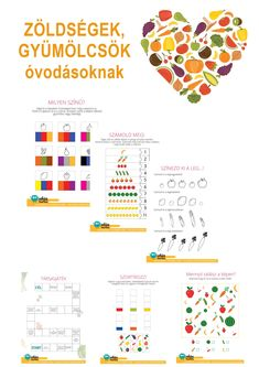 A csomag témája a zöldségek és gyümölcsök. Az egészséges életmódra nevelés az egyik legfontosabb feladataink közé tartozik, és ha a gyerekek játékos módon találkoznak az egészséges ételekkel, közelebbről megismerik azokat, akkor nagymértékben elősegíthetjük, hogy szívesebben is fogyasszák. A csomag tartalma: 15 játékos fejlesztő feladatlap óvodásoknak Lapbook óvodásoknak 15 játék, játékos feladat leírása 15 vers, mese 10 kézműves ötlet Extra játék: Menjünk a piacra! Kihívás óvodásoknak Album, Map, Google, Location Map, Maps, Card Book