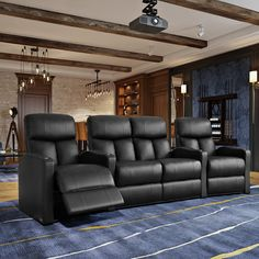 The Latitude Run, shown here as a row of 4 seats straight in black bonded leather, offers a space saving design along with incredible lower lumbar support. The collection offers incredible comfort and c Home Theater Rooms, Home Theater Seating, Home Theater Design, Home Theatre Lounge, Cinema Room, Theater Recliners, Wall Seating, Media Room Seating, Reclining Sectional