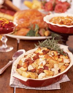 Bake earthy potatoes and turnips with smoky bacon and rosemary for a tasty alternative to mashed potatoes.