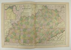Antique Kentucky Map Vintage Map of Tennessee 1898 State Map North Dakota South Dakota Travel Map Gift Under 20 Wedding Prop Genealogy by OldMapsandPrints on Etsy