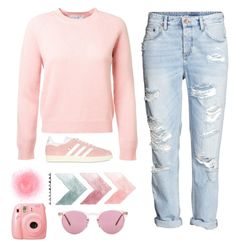 """A bit of Pink #Contest"" by queen0214 ❤ liked on Polyvore featuring Topshop, Fujifilm, adidas Originals and Oliver Peoples"