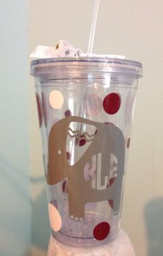 Elephant Monogram Tumbler on Etsy, $10.00  Great gift for Alabama fan!  Roll tide!