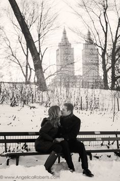 #Central Park #engagement #photography #black and white #New York City #kiss #couple #winter #snow Photo by Angelica Roberts Photography copyright www.angelicaroberts.com