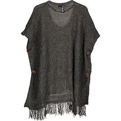 Olive Buttoned Fringed Poncho Tk Maxx, Cover Up, Buttons, Dresses, Women, Fashion, Vestidos, Moda, Fashion Styles