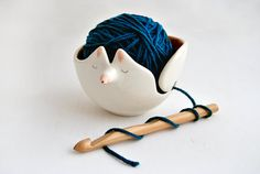 Ceramic Fox Yarn Bowl Decorated in Orange Color and design by Barruntando