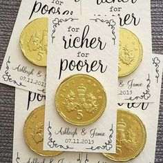 This is a cute idea! A chocolate coin wedding favor! Personalised 'For Richer For Poorer' Coin Wedding Favour                                                                                                                                                     More