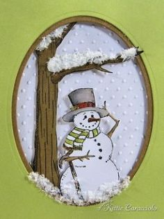 Snowman card from KittieKraft - She does some amazing dimensional work.snowman card: TB Top for Frame, Tree and Swiss Dot BackgroundAll window cards, some templates. Really neat websiteBe Jolly Snowman Scene - KittieKraftHow adorable, been looking fo Homemade Christmas Cards, Christmas Cards To Make, Xmas Cards, Homemade Cards, Handmade Christmas, Holiday Cards, Christmas Crafts, Christmas Sled, 3d Cards