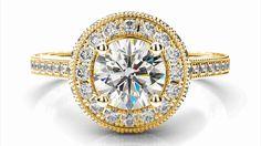 Zlatý zásnubný prsteň ALLIZA žlté zlato 14 karátové briliant okrúhly halo