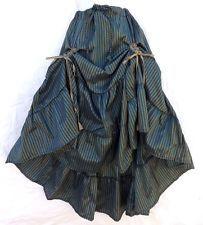 Steampunk Victorian Renaissance Pirate Costume Blue Bronz Striped Gathered Skirt