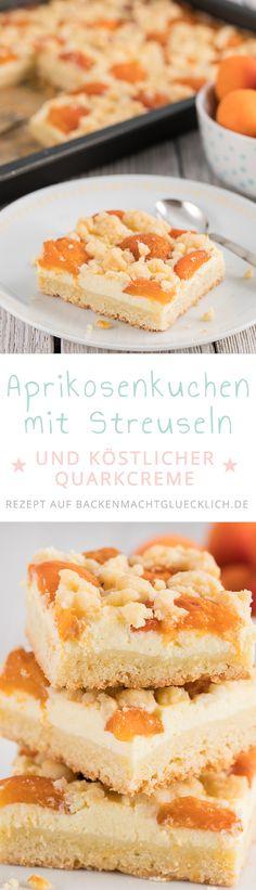 Toller fruchtiger Aprikosenkuchen mit Quark und Streuseln - ein idealer Sommerkuchen vom Blech für Gartenpartys. Dieses Aprikosenkuchen Rezept wird in drei Schritten gebacken und schmeckt am besten mit frischen Früchten.