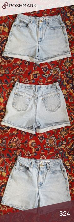 """Vintage 90s High Rise Light Wash Jean Shorts Vintage 90s high waisted denim shorts. Light blue with a faded look. Perfect for rolling, cut-offs or the deconstructed style. 11"""" rise, 6"""" inseam, and 29/30"""" at the waist. One spot under the left front pocket as shown in the last pic. Fit is similar to a modern 8. Shorts Jean Shorts"""