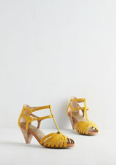 Quiz Show Heel in Sunshine by Seychelles - Mid, Leather, Yellow, Animal Print, Daytime Party, Vintage Inspired, 20s, 30s, Better, T-Strap, Variation