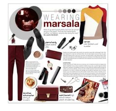"""Wearing Marsala"" by federica-m ❤ liked on Polyvore featuring Dorothee Schumacher, Yves Saint Laurent, Pierre Hardy, Bobbi Brown Cosmetics, Mary Kay, Lancôme, Fountain, Casetify, Paul Smith and Crate and Barrel"