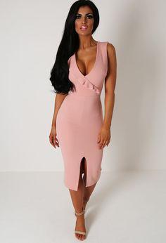 Bronwyne Pink Frill Bodycon Midi Dress