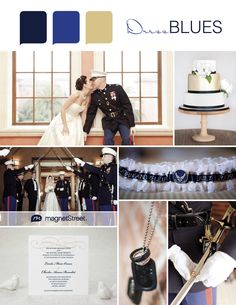 Military wedding inspiration - love the color palette on this one. Great for Army, Navy. Marine wedding, and other branches of the military, too.
