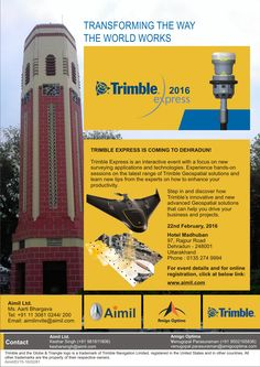 Trimble Express 2016 TRIMBLE EXPRESS IS COMING TO DEHRADUN!  Trimble Express is an interactive event with a focus on new surveying applications and technologies. Experience hands-on sessions on the latest range of Trimble Surveying & Geospatial solutions and learn new tips from the experts on how to enhance your productivity.   Step in and discover how Trimble's advanced instruments and image recognition software solutions that can help you drive your business and projects. Dehradun, New Tricks, Productivity, Software, Instruments, Range, Construction, Events, Technology