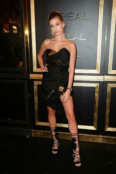 Model Hailey Baldwin took a break from her runway duties on Sunday evening (October to attend . Haley Baldwin, Strapless Dress Formal, Formal Dresses, Paris Party, Jenner Sisters, Celebrity Beauty, Women Wear, Spring Summer, Style Inspiration