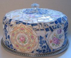 Vintage broken dishes mosaic cake cover with by blissfullychipped, $95.00