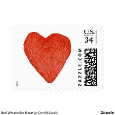 Red Watercolor Heart Stamp  Available in three sizes and three rates!  #stamp #postage #post #mail #letter #united #states #postal #service #friend #family #mailing #send #sent #service #greeting #card #heart #love #emotion #relationship #feeling #friendship #friend #family #meaning #meaningful #water #color #watercolor #cute #pretty