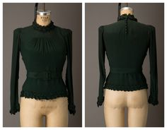 1930s Forest Green High Neck Long Sleeve Blouse from BloomersAndFrocks, $128.00