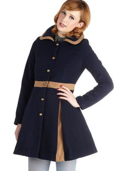 One for the Storybooks Coat. To get some inspiration for your childrens books, you button up this navy coat and take a jaunt to the park. #blue #modcloth