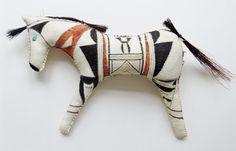 Native American Indian style horse pony doll model sculpture southwestern pueblo pottery Hopi geometric Arizona desert west tribal leather
