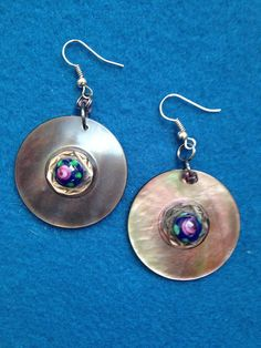 Shimmering Shell Button Earrings, Circular Disc Shell Button Earrings, Dangling Disc Button Earrings, Shell Buttons Used for Earrings by CatterflyStudios on Etsy