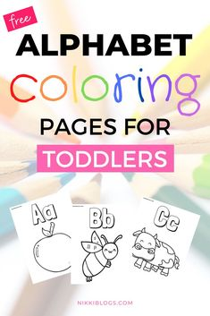Download 52 FREE printable coloring pages for toddlers featuring animals and objects. These alphabet themed coloring pages are easy and fun for ages 1 to 3! With simple designs and educational activities for young preschool aged kids, these two PDF coloring sets with keep your little ones entertained for hours. #coloringpages #toddlers #preschool #printable #kids Coloring For Kids Free, Preschool Coloring Pages, Easy Coloring Pages, Alphabet Coloring Pages, Free Printable Coloring Pages, Free Printables, Kids Activities At Home, Toddler Learning Activities, Educational Activities