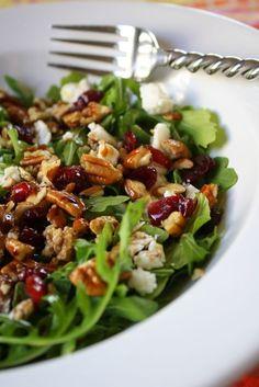 Arugula, Cranberry, Pecan, and Feta Salad--this looks delish! #food