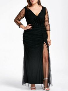 Plus Size Ruched Sheer Formal Dress, BLACK, XL in Plus Size Dresses | DressLily.com
