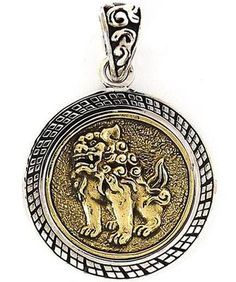 Japan Guardian Lion Gold Sterling 925 Silver Pendant New Japanese Mens Jewelry