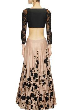 ASTHA NARANG tan and black embroidered lehenga set presents available only at Pernia's Pop Up Shop.