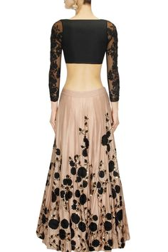 ASTHA NARANG Peach and black embroidered lehenga set presents available only at Pernia's Pop Up Shop.