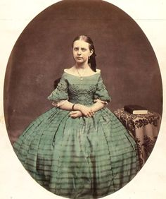 Oval Portrait of Young Woman in Green Dress c. 1855 George C. Gilchrest Salt print-hand tinted The Addison Gallery of American Art