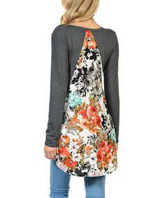 Charcoal Floral-Back Tunic #zulily #zulilyfinds