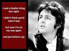 Paul McCartney - One More Kiss - Lyrics From Pete 8/15/15