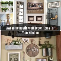 Awesome Rustic Wall Decor Items For Your Kitchen Rustic Wood Chalkboard This rustic wood chalkboard is perfect for writing a small grocer. Rustic Wall Decor, Rustic Wood, Easy Home Decor, Decorative Items, Gallery Wall, Decor Ideas, Decorating, Living Room, Diy