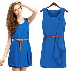 New Fashion Women's Sexy Fashion Sleeveless Irregular Dress Slim Elegant Dress Blue