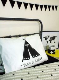 Young and Brave designer Pillowcase hand screen printed in Australia. Teepee design. Kids room, boys room, little adventurer.