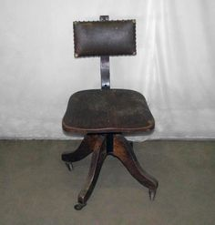 antique office chair Oak | Antique oak rolling office chair with worn leather seat: Architectural ...