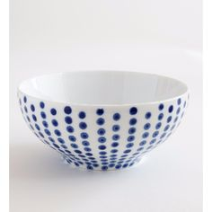 Spot Hand Painted Large Bowl: Hand painted elegantly-shaped ceramics, featuring painterly-style spot graphic  pattern. This spot design is delicate and elegant. In traditional vivid China blue and white. 4 designs available - Fine Stripe, Wide Stripe, Spot, Herringbone. Hand painted in Vietnam.