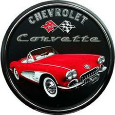 """Chevrolet Corvette Racing Flags 12/"""" ROUND METAL WALL SIGN Garage Mancave GM"""