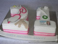 Medical 21 Birthday Cake. Number 21 shaped cake in white with pink chiffon ribbon.  This version was themed for a childrens nurse personalised with medical implements and mock edible ID card