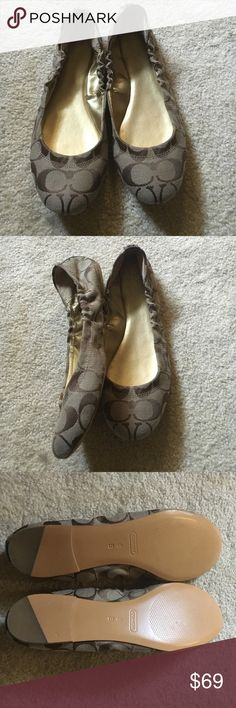 Coach flats Brand new without tags/box. Size 8. Medium width. Tan and brown signature fabric. Brown patent leather on heel. Coach Shoes Flats & Loafers