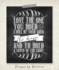 "Mumford & Sons - Lover of the Light - CHALKBOARD LYRICS - 8"" x 10"" Print"